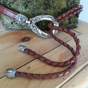 Adjustable Leather Belt with Silver